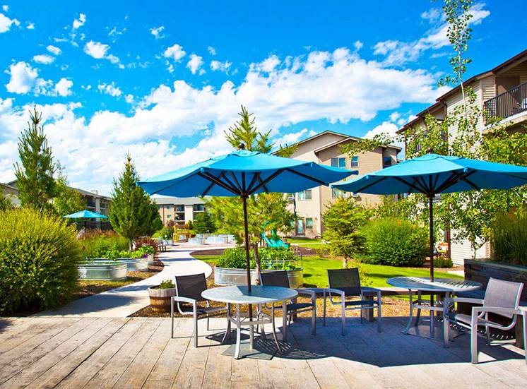 Spacious, Landscaped Patio and Private Courtyard at Mullan Reserve, Missoula, MT