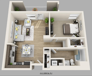 Unit C - (1bed, 1bath)