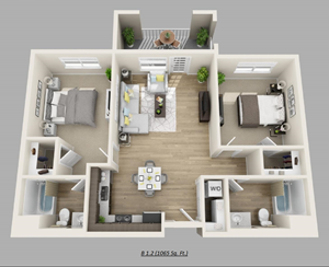 Unit D - (2bed, 2bath)