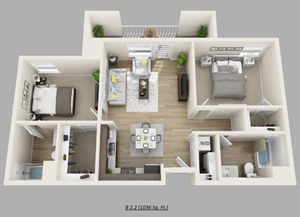 Unit E - (2bed, 2bath)