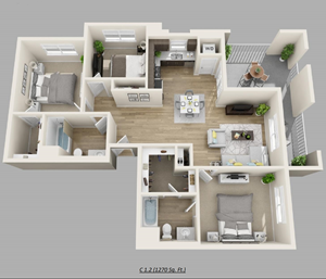 Unit F - (3bed, 2bath)