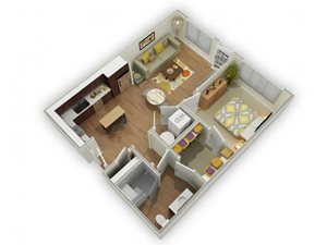 Capstone at Vallagio_Englewood CO_Floor Plan_One Bedroom One Bathroom A2