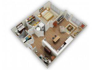 Capstone at Vallagio_Englewood CO_Floor Plan_One Bedroom One Bathroom A3