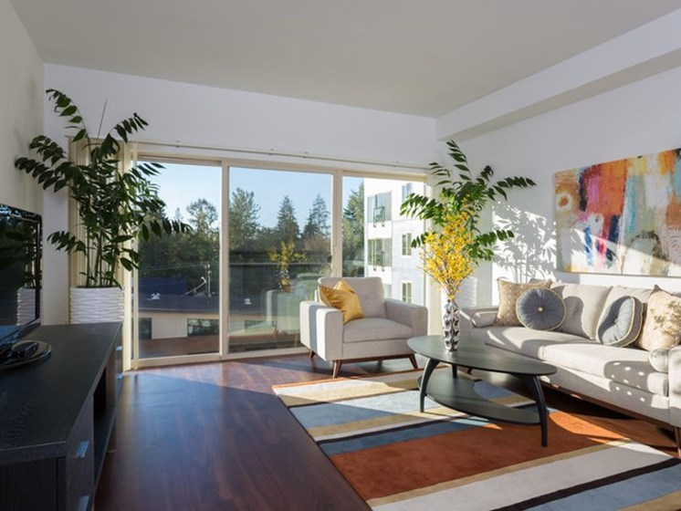 Luxurious Living Rooms With Attached Patios and Balconies at Trillium Apartments, 4902 148th Street, Edmonds, WA 98026
