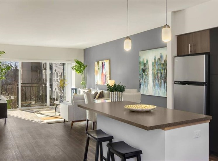Chef Inspired Kitchen Islands with Chic Pendant Lighting at Trillium Apartments, 4902 148th Street, Edmonds, 98026