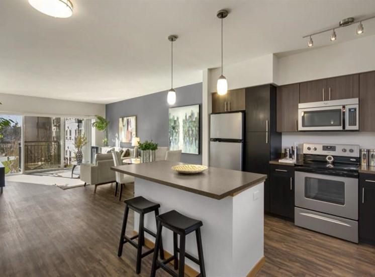 Spacious Kitchen with Pantry Cabinet at Trillium Apartments, Washington, 98026