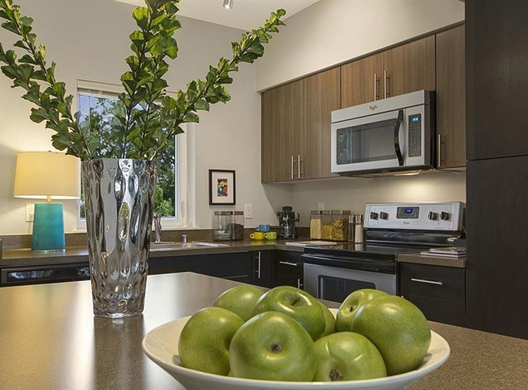 Fully equipped kitchen at Trillium Apartments, 4902 148th Street, Edmonds, 98026