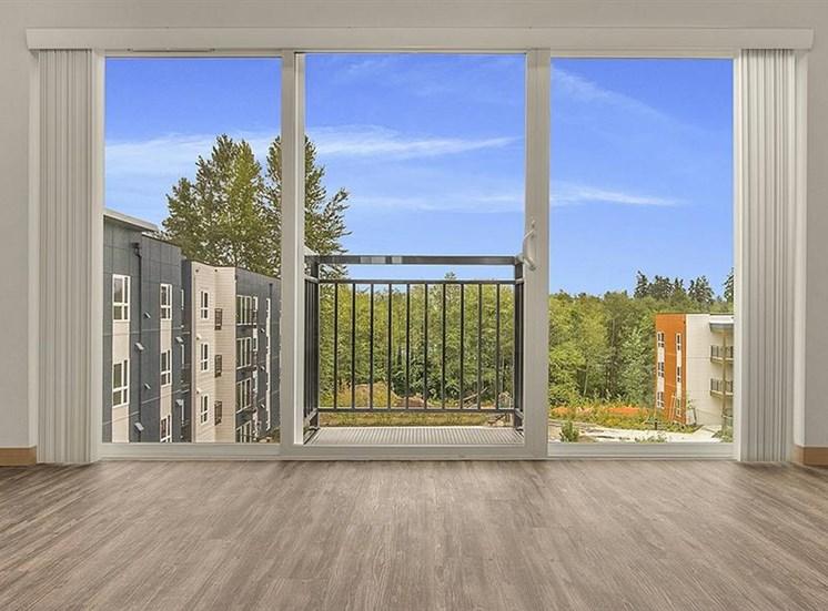 Faux wood flooring at Trillium Apartments, Washington, 98026