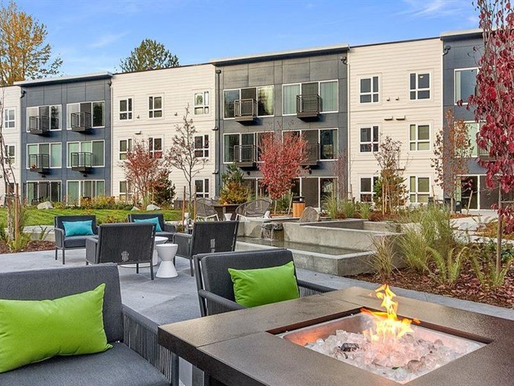 Sundeck and Outdoor Grilling Area at Trillium Apartments, 4902 148th Street, Edmonds, 98026