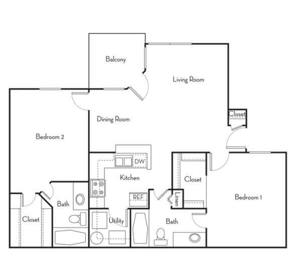 2 Bed 2 Bath B Reno Floor Plan 5