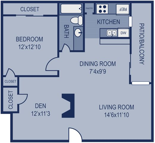 1 Bed 1 Bath 1 Den Floor Plan 3