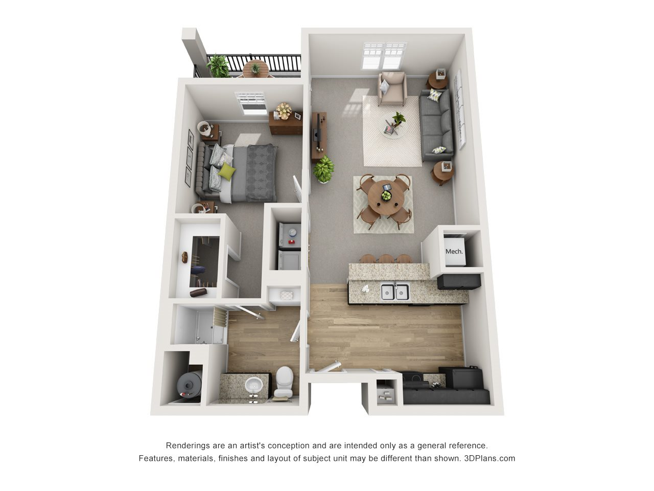 1 Bed / 1 Bath Floor Plan 1