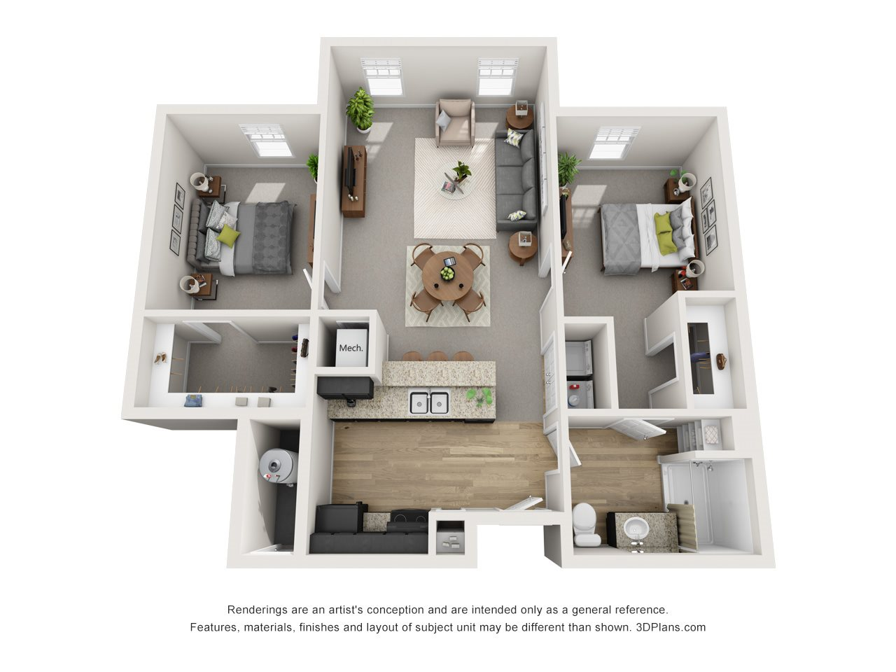 2 Bed / 1 Bath Floor Plan 2