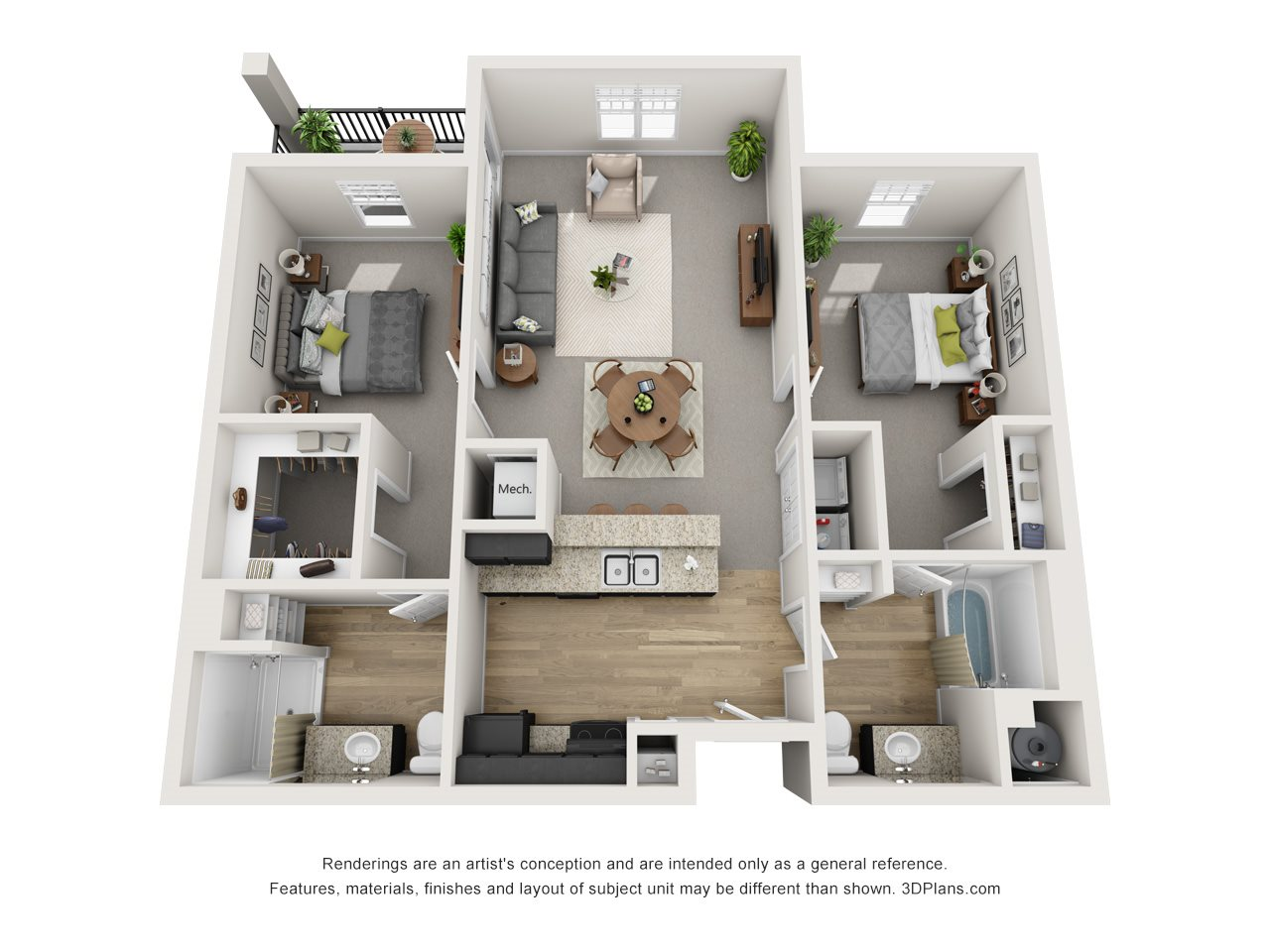 2 Bed / 2 Bath Floor Plan 3