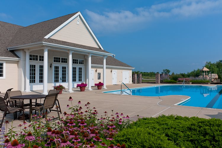 Pool and garden at Prairie Point in Merrillville, IN