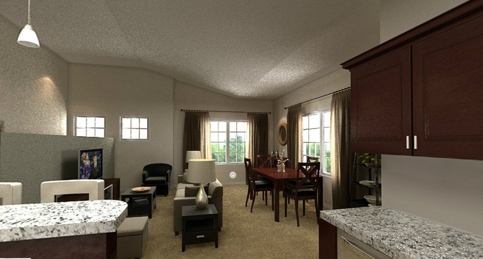 Living and dining area at Prairie Point in Merrillville, IN