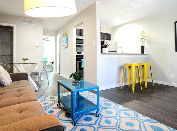 Contemporary Living Room at Mesh Properties, Austin, Texas