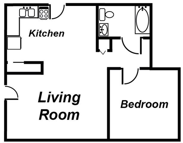 1 Bedroom, 1 Bath Floor Plan 1