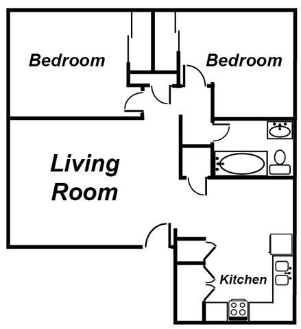 2 Bedroom Apartment Floorplan