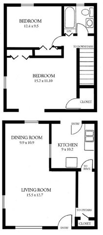 2 Bedroom Townhome Floor Plan 1