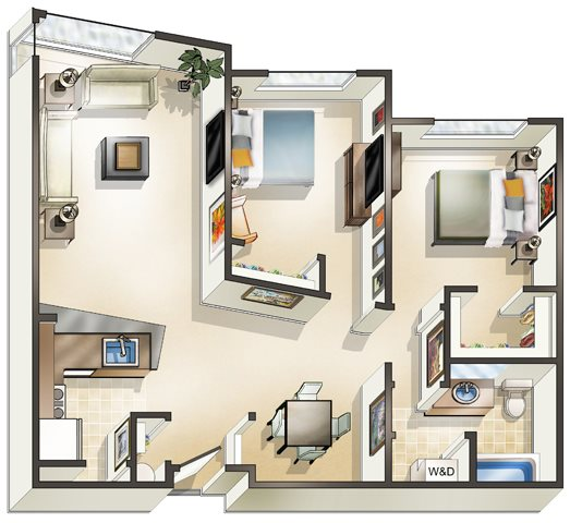 2 Bed 1 Bath Floor Plan 5