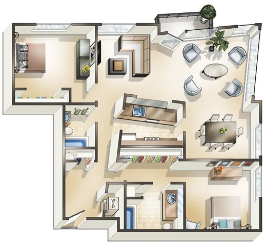 2 x 2 Den Floor Plan 7