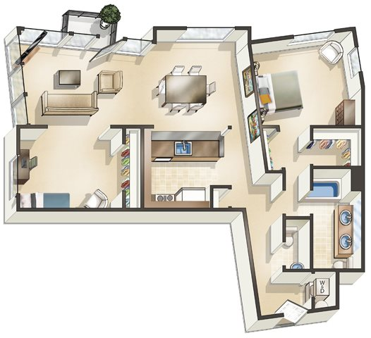 1 Bed x 1.5 Bath Den Floor Plan 3