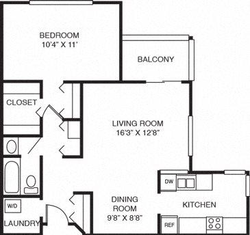1B-One Bed One Bath Floor Plan 2