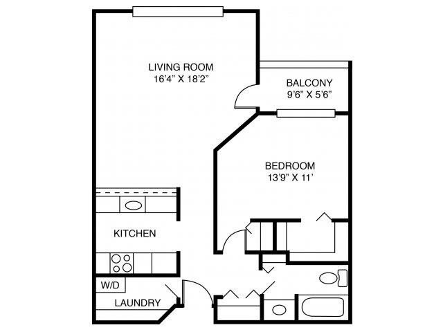 1A-One Bed One Bath Floor Plan 1