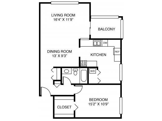 1C-One Bed One Bath Floor Plan 3