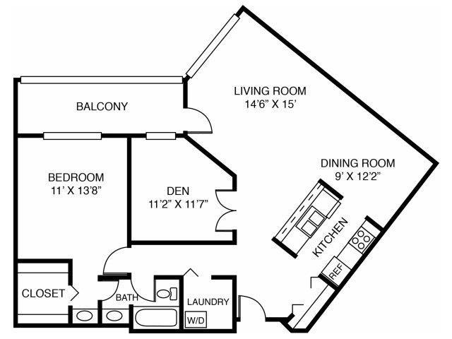 1F-One Bed One Bathden Floor Plan 5