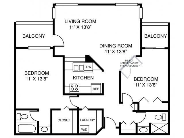 2C-Two Bed Two Bath Floor Plan 7