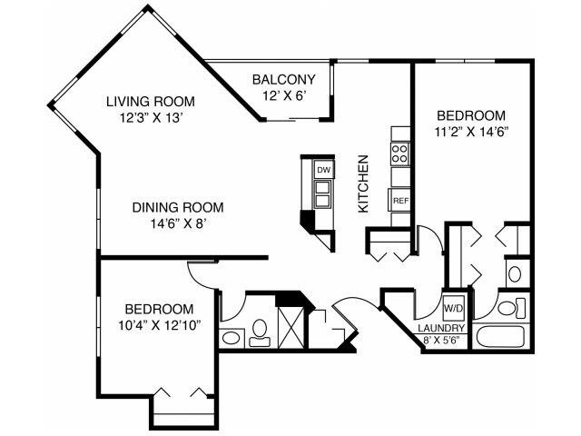 2D-Two Bed Two Bath Floor Plan 8