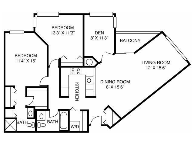 2E-Two Bed Two Bath den Floor Plan 9