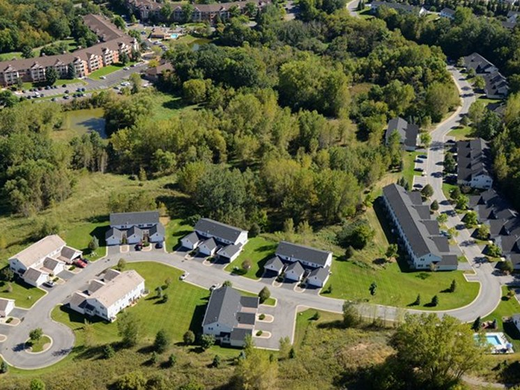 Aerial drone shot of properties