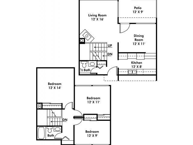3 BR Townhome with Washer & Dryer Floor Plan 3