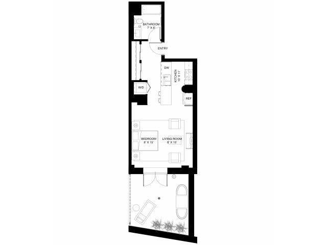 A2 Studio Walkout Floor Plan 2