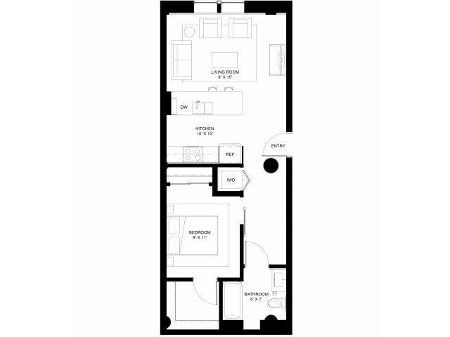 1br apartment at 430 Oak Grove