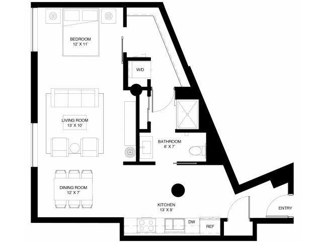 Studio Apartment at 430 Oak Grove