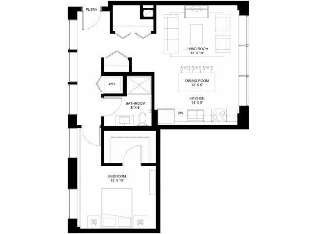 1 Bedroom Floor Plan at 430 Oak Grove