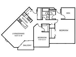 2D Rock Elm (2 Bedroom Den)
