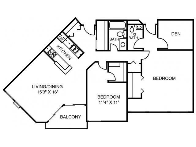 2D Rock Elm (2 Bedroom Den) Floor Plan 2