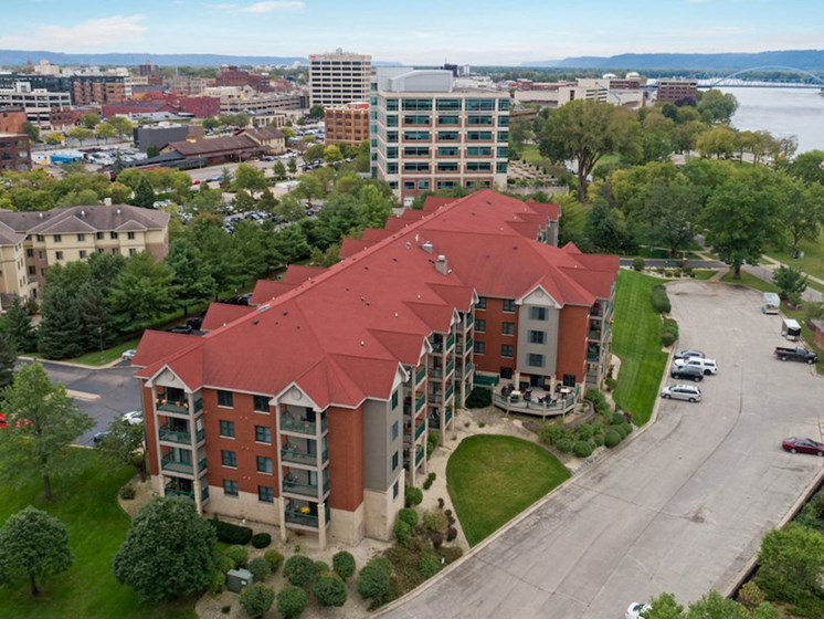 Aerial drone shot of property