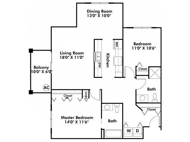 2 Bedroom Corner Unit Floor Plan 4
