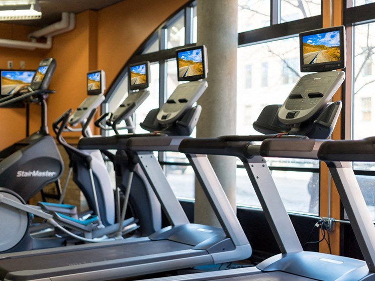 Fitness room with treadmills looking out the window