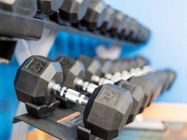 Close up of weight rack