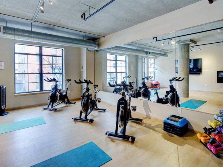 Yoga studio with ellipticals