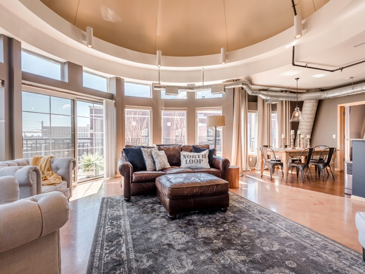 large living room in the Crown Suite