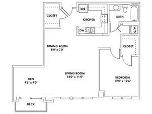 K2 - 1 Bedroom - Den Flat