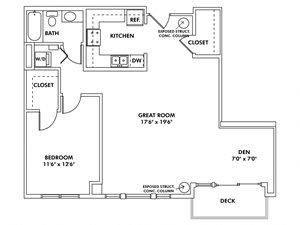 S - 1 Bedroom - Den Apartment